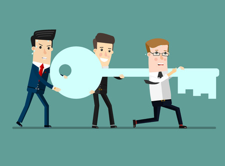 leading the way: Flat design vector illustration concept of team work. Businessman and businesswoman go to the door with a key. Vector Illustration