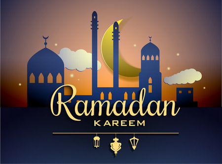 Vector Moon and Mosque Lightning in Dark Background with Ramadan Kareem Greetings. Silhouette Vector Illustration Imagens - 58748558