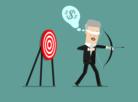 Blindfold businessman holding bow and arrow look for target in wrong direction. Business concept. Vector illustration Imagens - 69075369