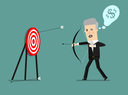 Cartoon businessman with bow and many targets. Conceptual illustration on green background. Raster version.