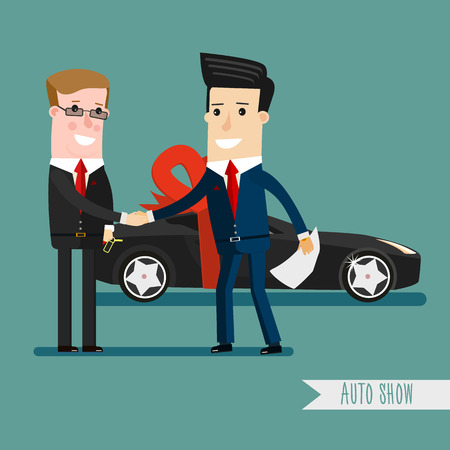 Businessman or manager is holding a key of a new car. Happy, smile. Cartoon, Vector, Illustration, EPS 10 Business concept cartoon illustration.