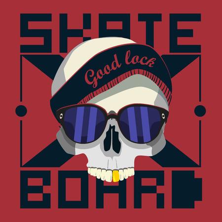 skull, skateboard, vector design work print for a T-shirt Imagens - 69075383