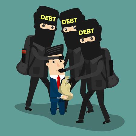 Businessman in debt. Vector Business concept cartoon illustration. Imagens - 77835173