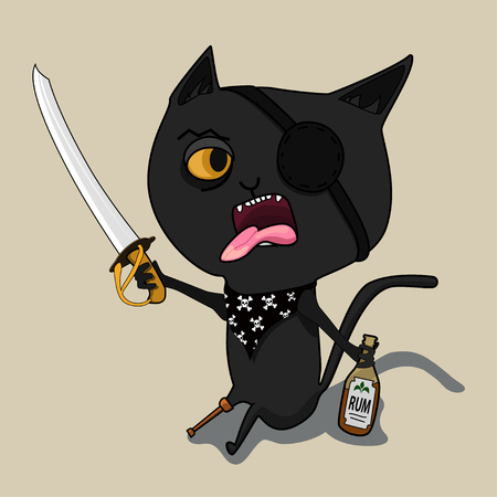Cat Pirate with a bottle of rum and a blade. Cute black cartoon cat. Big mustache whisker. Funny character. Flat design. Isolated. Vector illustration