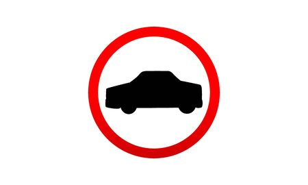 No Cars. Road And Traffic Jam Symbol And Sign. Prohibiting Thoroughfare For All Motor Vehicles