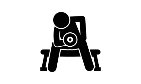 Arm building exercises vector icon. Can be used for web and mobile apps. Vettoriali