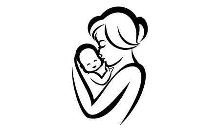 Young mom hugs her baby vector icon - Vector