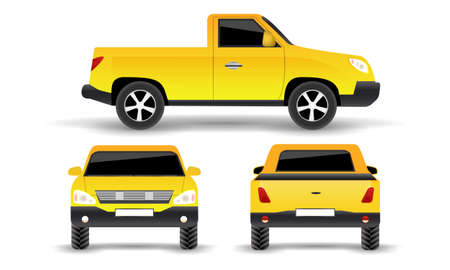 Pickup truck icon. Side, Font & back view. Pick-up car or vehicle silhouette. Vector illustration.