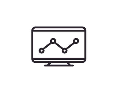 Monitoring icon flat style vector illustration.