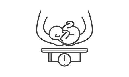 Measuring Baby Weight icon flat style vector illustration. Иллюстрация
