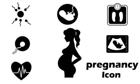 Pregnancy icon set flat style vector illustration.