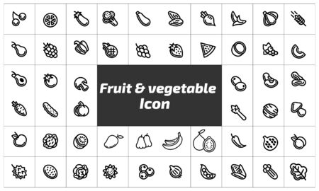 Fruit & vegetable icon pack. Can be used for web and mobile apps.