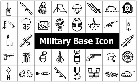 military base icon set flat style vector illustration. Çizim