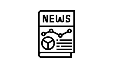 business analysis news icon flat style graphical symbol.