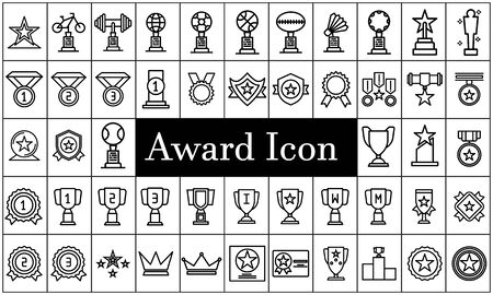Medal award icon set. Outline illustration of 50 medal award vector icons for web.