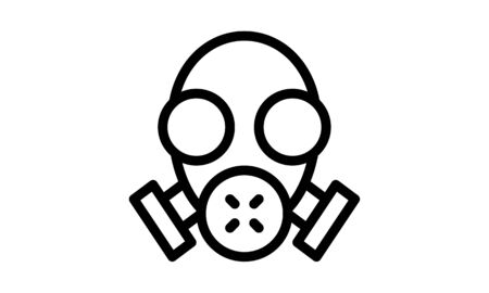 Gas mask icon vector sign and symbol isolated on white background, Gas mask logo concept.
