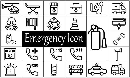 Emergency icon pack flat style vector illustration.