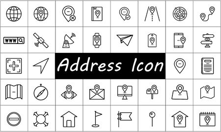 Address icon set flat style vector illustration.