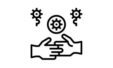 Handshake and virus transmission line icon, coronavirus epidemic concept, Covid-19 transmitted through shake hand sign on white background in outline style for mobie, web. Vector graphics.