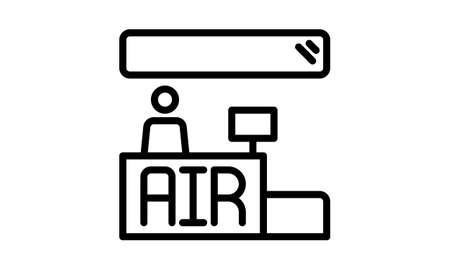 air ticket counter icon flat style vector illustration.