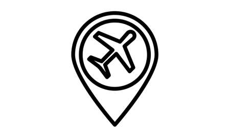 Airplane in location pin symbol. Plane, aircraft icon or sign concept. Иллюстрация