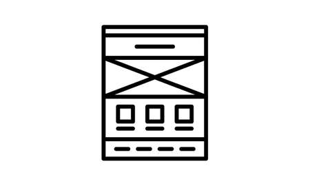 Wireframe vector icon flat style graphical symbol.
