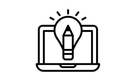 Laptop solution idea bulb solution line icon on vector image