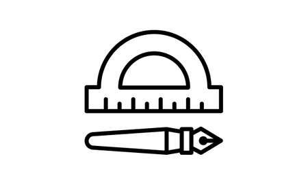 Protractor pen icon, outline style.