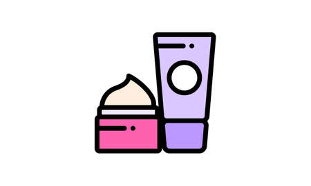 Beauty cream line icon makeup and cosmetic skin vector image