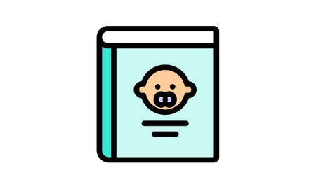 Baby guide book icon flat style vector illustration.