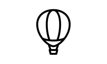 Hot air balloon icon, modern minimal flat design style, vector illustration