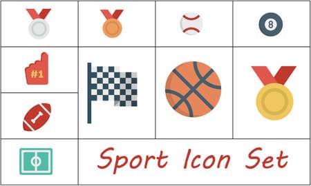 Sport icon set flat style vector illustration.