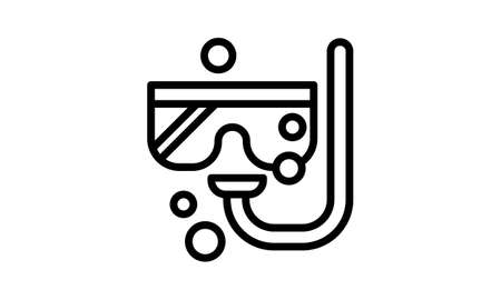 Diving tube and mask line icon, summer concept, Snorkeling equipment sign on white background, Dive mask and snorkel icon in outline style for mobile concept and web design. Vector graphics
