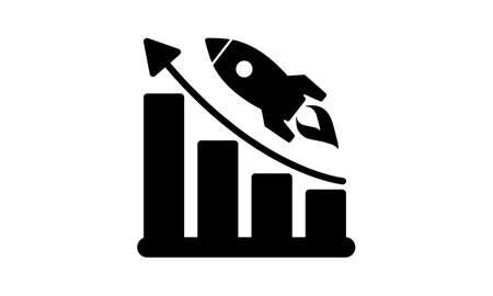Startup rocket growth chart flat icon vector illustration.