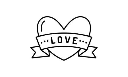 Love heart with ribbon icon on white for valentine day design, vector illustration.