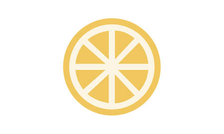 Lemon slice vector icon illustration on white background. Fresh sour vector lemon icon. Web background. Food icon.