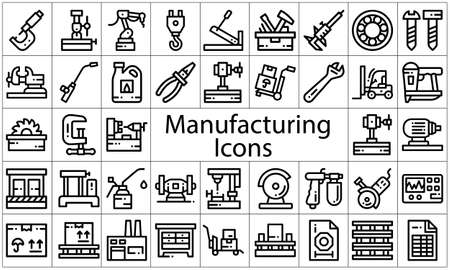 Manufacturing icon set flat style vector illustration.