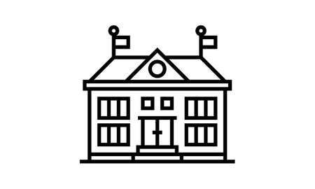 High school building line icon, outline vector sign, linear style pictogram isolated on white. Symbol, logo illustration.