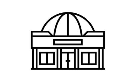 Dome vector icon. isolated black simple line element illustration from buildings concept.