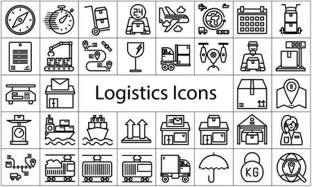 Logistics icon set flat style vector illustration.