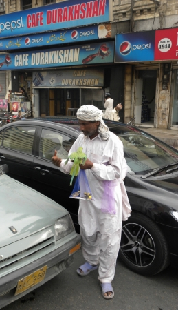 holy thursday: PAKISTANKARACHI_LOCAL ADULT MAN SELLING BIRDS AN GREEN PARROTS ON TRAFFIC SIGNAL IN HOLY MONTH OF RAMADAM, RAMADAM IS HOLIEST MONTH IN ISLAMIC CANLEDAR TODAY ON THURSDAY 26 JULY 2012 IN KARACHI                                Editorial