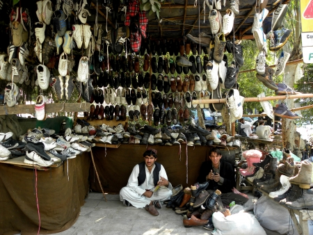 KARACHIPAKISTAN_ALSO GEETING SOLD OLD & USED FOOTWEAR (SHOES) IN LANDA BARZAR HERE ON MONDAY 28 JANUARY 2013                                 Editorial