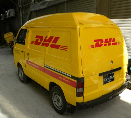 KARACHIPAKISTAN_DHL EXPRESS AND LOGISTICS DELIERLY VAN HERE ON WEDNESSDAY 27 FEBUARY 2013             Editorial