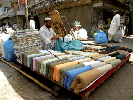 KARACHIPAKISTAN_BESIDE THE BAZAARS LOCATED ALL OVER THE CITY THERE ARE ALSO SHOP IN THE MAJOR HOTELS AND MALLS.IN MANY OF THE BAZAARS AN MARKETS, SHOPKEEPER TYPICALLY BARGAIN WITH COUSTOMERS FOR THE BEST PRICE HERE ON TUESDAY 16 APRIL 2013