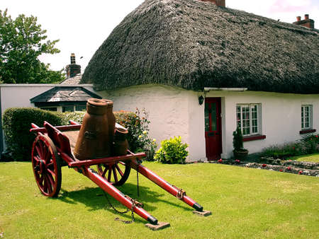 thatched roof: White irish thatched roof cottage in Adare, Ireland