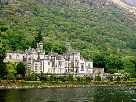 angled view: Angled view of Kylemore Abbey from across the loch in Ireland