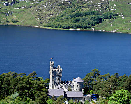 gaelic: A view of Glenveagh Castle from a nearby mountain in Glenveagh National Park in Donegal, Ireland