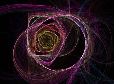 zelektryzować: Wygenerowane komputerowo Fractal ilustracji strumieni światła swirling i skręcarki do powtarzających się kształtów