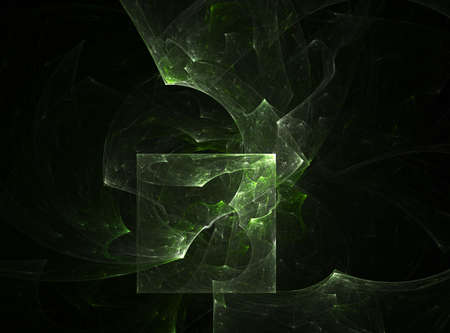 Computer generated fractal illustration reminiscent of an exploding emerald cube on black illustration