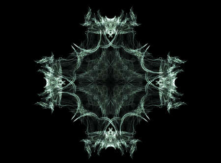 Computer generated fractal illustration of a pale green intricate flame, almost tribal in nature